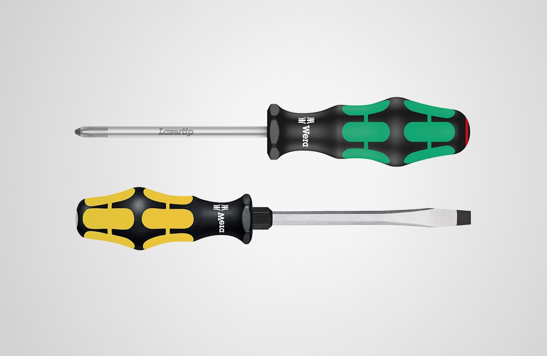 Phillips and slotted (flathead) screwdrivers